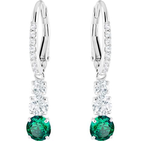 Attract Trilogy Round Pierced Earrings, Green, Rhodium plated - Swarovski, 5414682