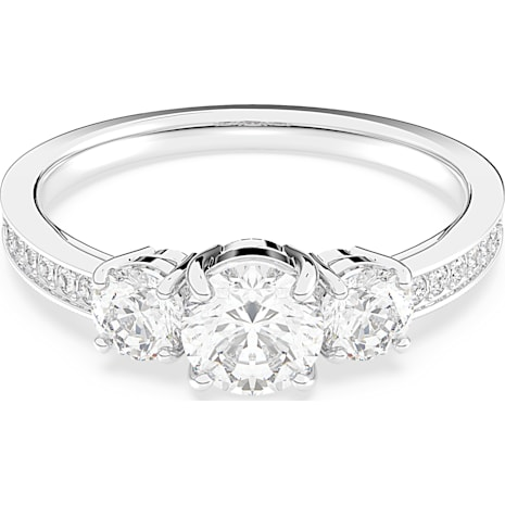 Attract Trilogy Round Ring, White, Rhodium plated - Swarovski, 5414972
