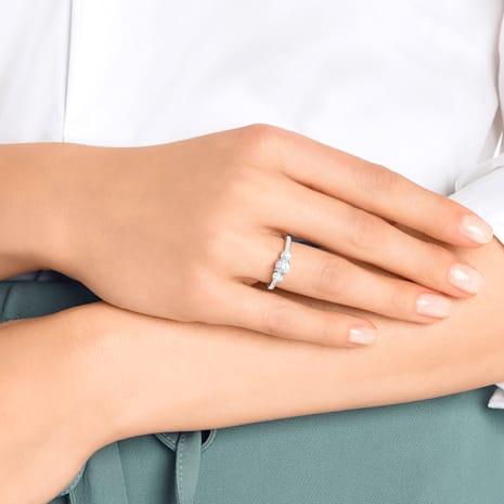 Attract Trilogy Round Ring, weiss, Rhodiniert - Swarovski, 5414972