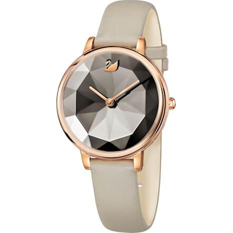 Crystal Lake Watch, Leather strap, Grey, Rose-gold tone PVD - Swarovski, 5415996