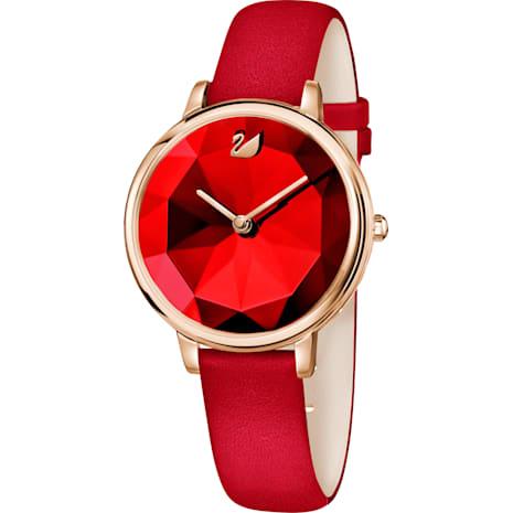 Crystal Lake Watch, Leather strap, Red, Rose-gold tone PVD - Swarovski, 5415999