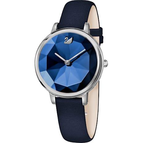 Crystal Lake Uhr, Lederarmband, blau, Edelstahl - Swarovski, 5416006