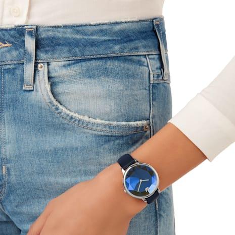 Montre Crystal Lake, Bracelet en cuir, bleu, acier inoxydable - Swarovski, 5416006