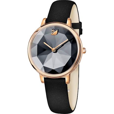 Crystal Lake Watch, Leather strap, Black, Rose-gold tone PVD - Swarovski, 5416009