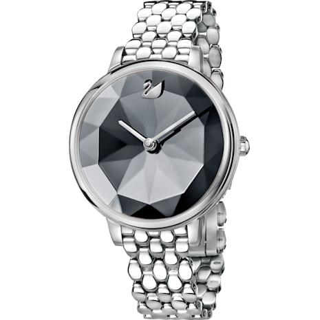 Crystal Lake Watch, Metal bracelet, Dark grey, Stainless steel - Swarovski, 5416020