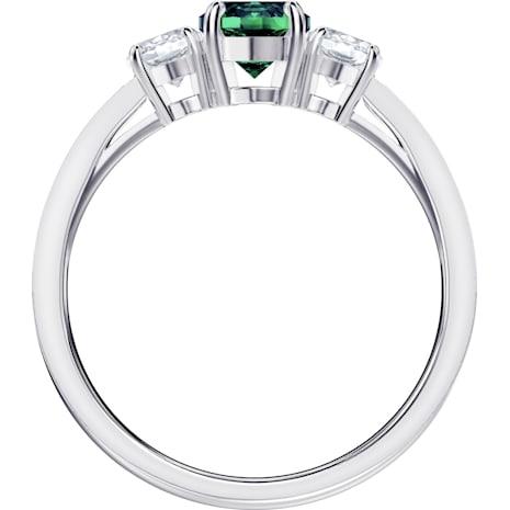 Anello Attract Trilogy Round, verde, Placcatura rodio - Swarovski, 5416151
