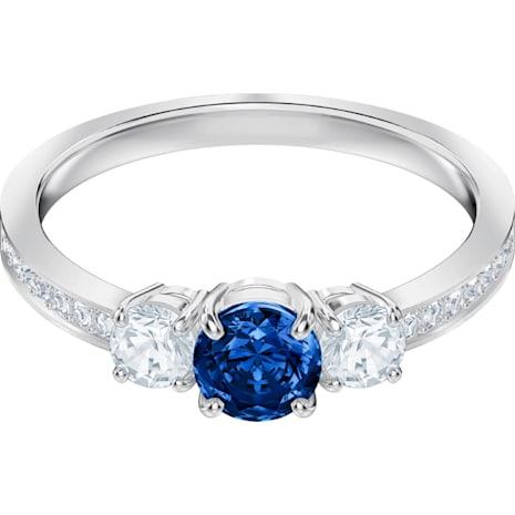 Anello Attract Trilogy Round, azzurro, Placcatura rodio - Swarovski, 5416152
