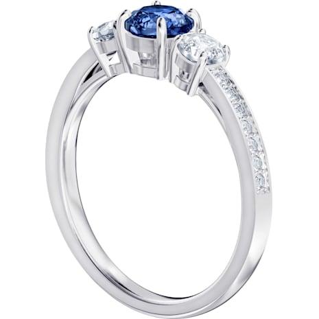 Attract Trilogy Round Кольцо, Синий Кристалл, Родиевое покрытие - Swarovski, 5416152