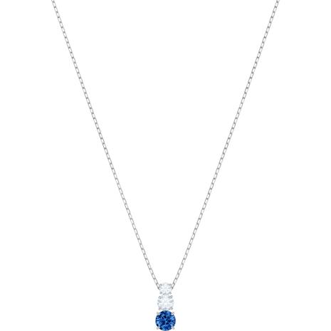 Attract Trilogy Round Подвеска, Синий Кристалл, Родиевое покрытие - Swarovski, 5416156