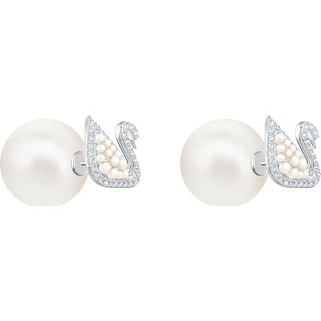 Iconic Swan Stud Pierced Earrings, White, Rhodium plating - Swarovski, 5416591