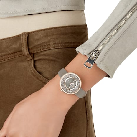 Crystalline Pure Watch, Leather strap, Champagne-gold tone PVD - Swarovski, 5416704