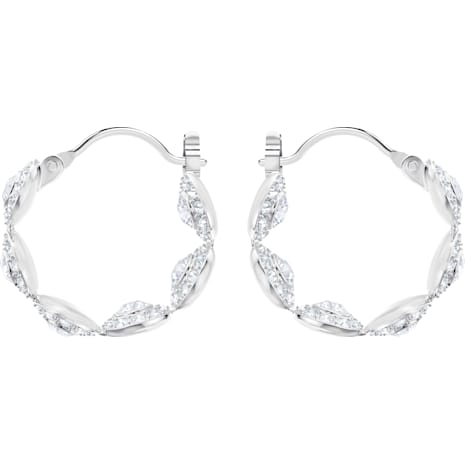 Angelic Hoop Pierced Earrings, White, Rhodium plated - Swarovski, 5418269