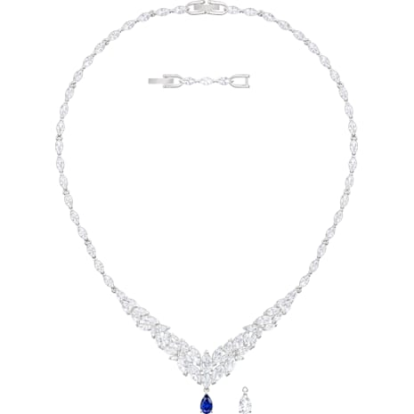 Louison Necklace, White, Rhodium plated - Swarovski, 5419234