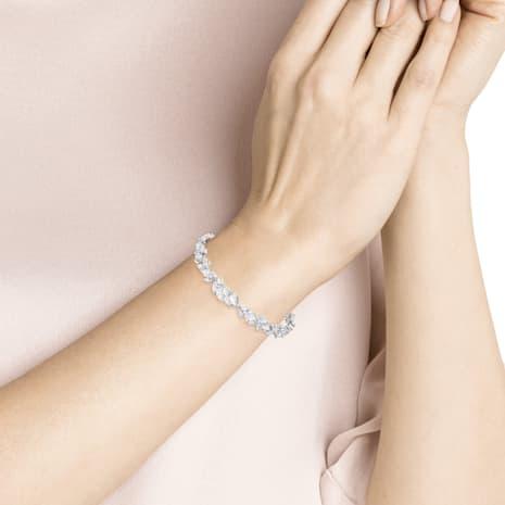 Louison 手鏈, 白色, 鍍白金色 - Swarovski, 5419244
