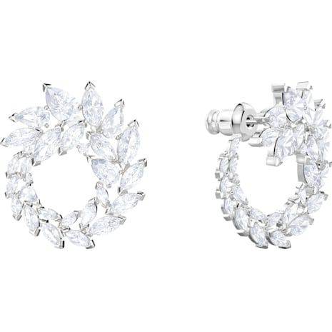 Louison Earrings, White, Rhodium plated - Swarovski, 5419245