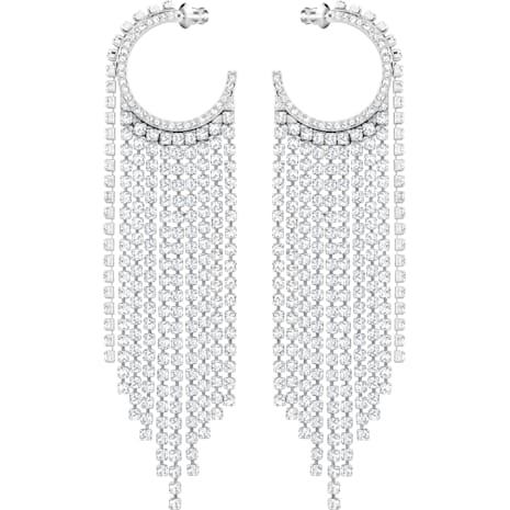 Fit 穿孔耳環, 白色, 鍍白金色 - Swarovski, 5421821