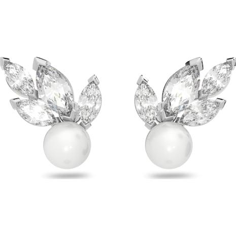 Pendientes Louison Pearl, blanco, Baño de Rodio - Swarovski, 5422683