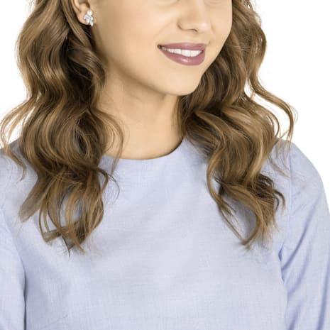Louison Pearl Pierced Earrings, White, Rhodium plated - Swarovski, 5422683