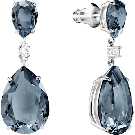 Vintage Drop Pierced Earrings, Teal, Rhodium plated - Swarovski, 5424362