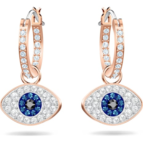 Swarovski Symbolic Evil Eye Hoop Pierced Earrings, Multi-colored, Rose-gold tone plated - Swarovski, 5425857