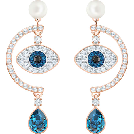 Luckily Evil Eye 穿孔耳環, 多色設計, 鍍玫瑰金色調 - Swarovski, 5425860