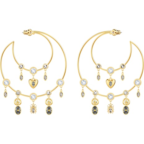 Magnetic Hoop Pierced Earrings, Multi-coloured, Gold-tone plated - Swarovski, 5426604