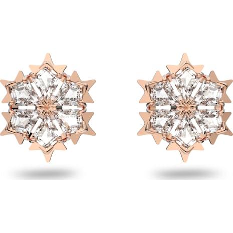 Pendientes Magic, blanco, Baño en tono Oro Rosa - Swarovski, 5428429