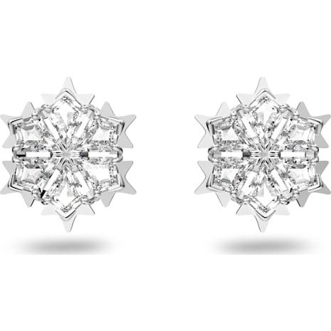 Magic Pierced Earrings, White, Rhodium plated - Swarovski, 5428430