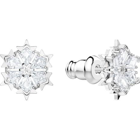 Magic 穿孔耳環, 白色, 鍍白金色 - Swarovski, 5428430
