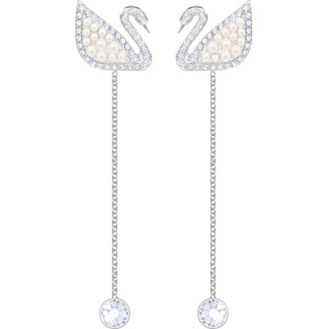 Swarovski Iconic Swan 穿孔耳環, 白色, 鍍白金色 - Swarovski, 5429270