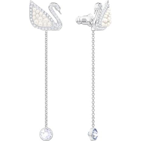 Swarovski Iconic Swan Pierced Earrings, White, Rhodium plated - Swarovski, 5429270