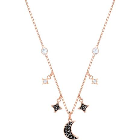 Swarovski Symbolic Moon Halskette, schwarz, Rosé vergoldet - Swarovski, 5429737