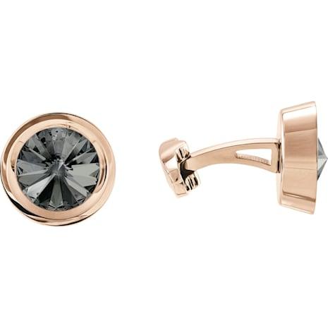Round Cuff Links, Grey, Rose-gold tone plated - Swarovski, 5429900