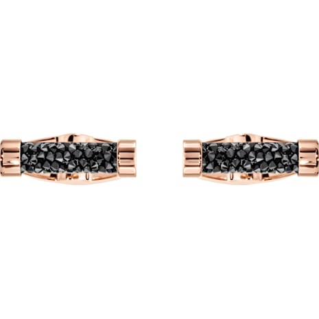 Crystaldust Cuff Links, Black, Rose-gold tone plated - Swarovski, 5429902