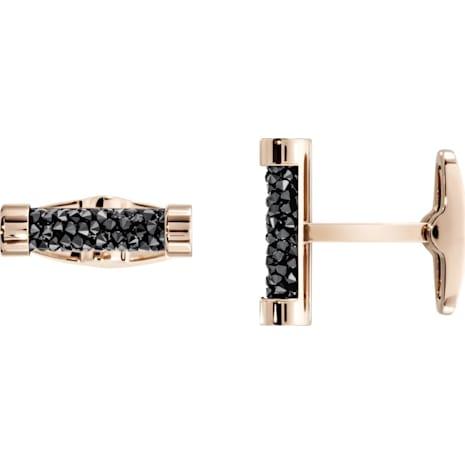 Crystaldust 袖扣, 黑色, 鍍玫瑰金色調 - Swarovski, 5429902