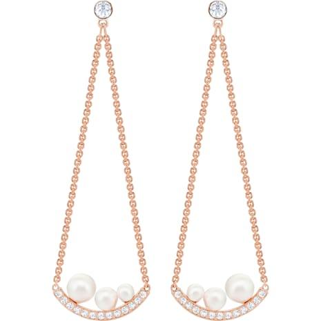 Major Pierced Earrings, White, Rose-gold tone plated - Swarovski, 5429964