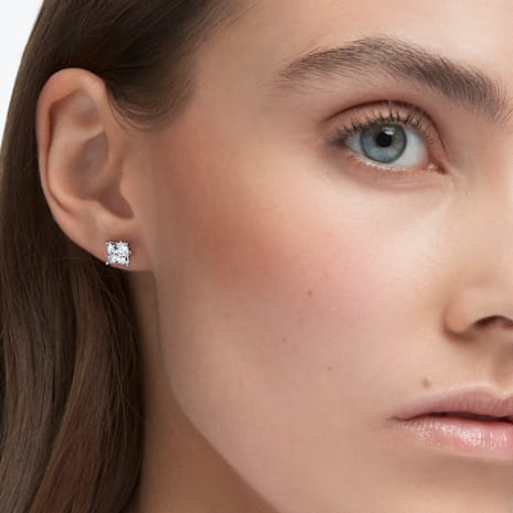 Attract Stud Pierced Earrings White Rhodium Plated