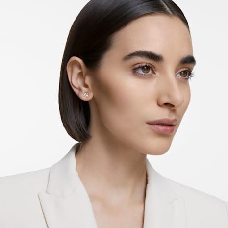Pendientes de botón Attract, blanco, Baño en tono Oro Rosa - Swarovski, 5431895