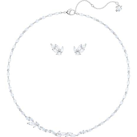 Conjunto Louison, blanco, Baño de Rodio - Swarovski, 5435164