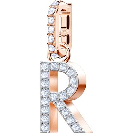 Swarovski Remix Collection Charm R, White, Rose-gold tone plated - Swarovski, 5437617