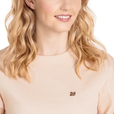 Facet Swan Tack Pin, Black, Rose-gold tone plated - Swarovski, 5439870