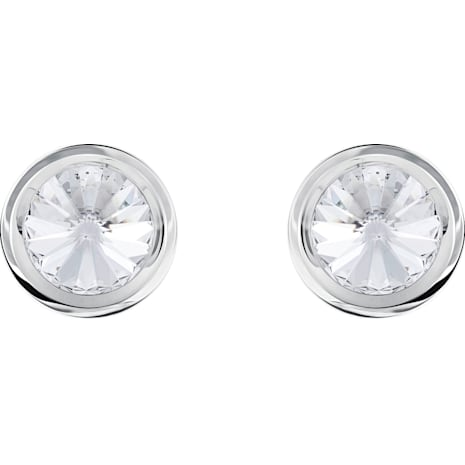 Round Cuff Links, White, Stainless steel - Swarovski, 5440319