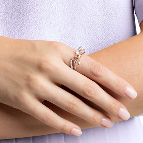 Lifelong Bow 戒指, 白色, 多種金屬潤飾 - Swarovski, 5440641