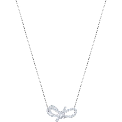Collar Lifelong Bow, blanco, Baño de Rodio - Swarovski, 5440643