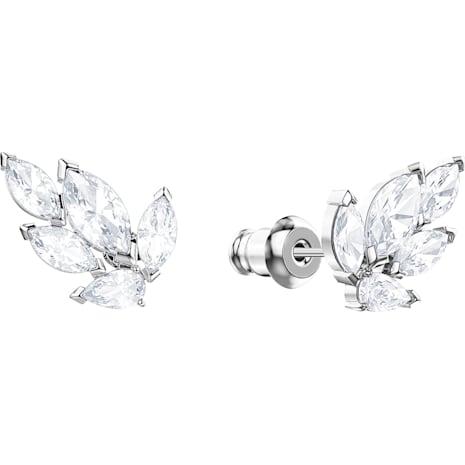 Louison 耳釘, 白色, 鍍白金色 - Swarovski, 5446025
