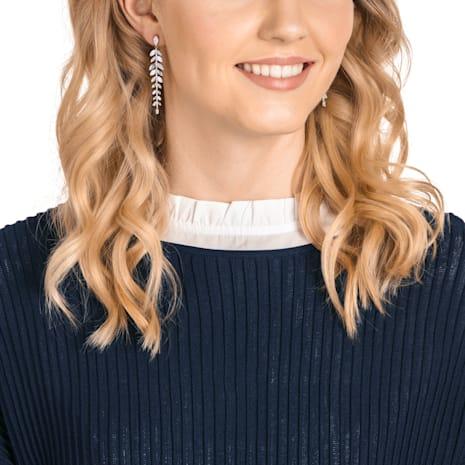 Mayfly Pierced Earrings, Long, White, Rhodium plated - Swarovski, 5446037