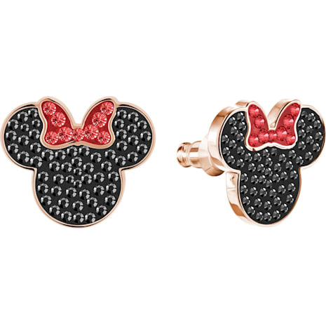 Mickey & Minnie Pierced Earrings, Black, Rose-gold tone plated - Swarovski, 5446390