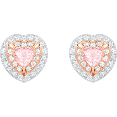 One Stud Pierced Earrings, Multi-coloured, Rose-gold tone plated - Swarovski, 5446995