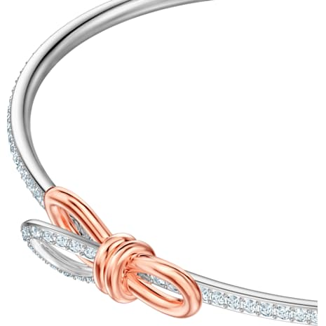 Lifelong Bow Bangle, White, Mixed metal finish - Swarovski, 5447079