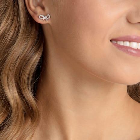 Lifelong Bow Pierced Earrings, White, Rhodium plated - Swarovski, 5447080